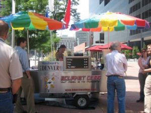 Wild game hot dog cart in downtown Denver, CO