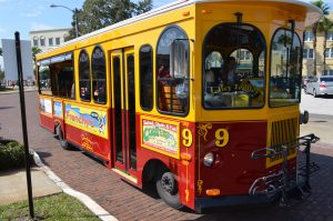 The Clearwater Jolly Trolley; img. courtesty of Clearwater Jolley Trolley Safe Harbor Connect