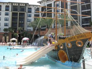 pirate ship pool at Sheraton Vistana Villages, a family resort in Orlando, FL