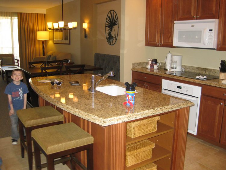 2BR condo at Sheraton Vistana Villages with fully equipped kitchen.  Photo by Stephany Wiestling of BestKidFriendlyTravel.com