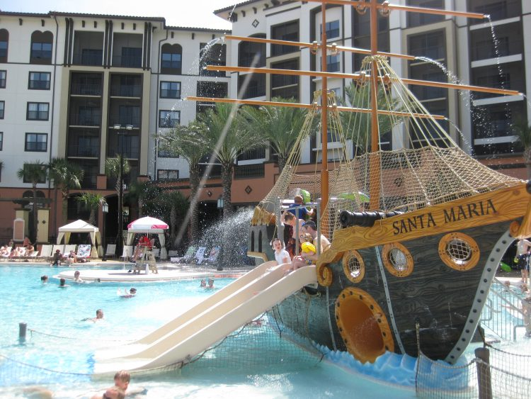 Pirate ship pool at Sheraton Vistana Villages. Photo by Stephany Wiestling of BestKidFriendlyTravel.com