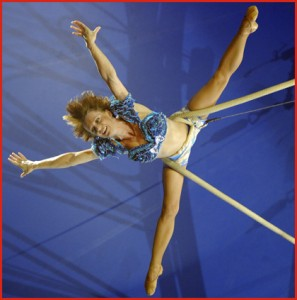 Regina on the trapeze performing in the Big Apple Circus in New York City.
