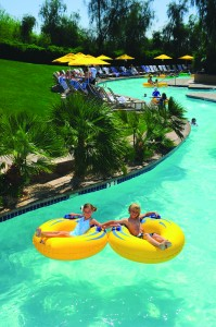 children floating on the lazy river at the family resort JW Marriott Desert Ridge in Phoenix AZ