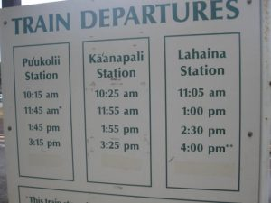 Sugar Cane Train Departures