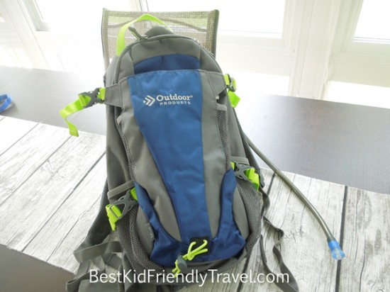 Daypack with built-in water bottle system. Photo copyright Stephany Wiestling. All rights reserved.