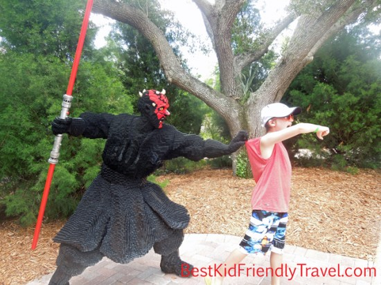 Having fun with statues in Miniland at LEGOLAND Florida from BestKidFriendlyTravel.com