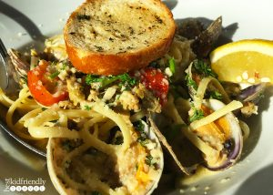 Linguini and clams at Fog Harbor Fish House on Pier 39 at Fisherman's Wharf in San Francisco, California