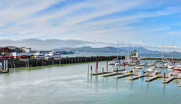 view from Fog Harbor Fish House on Pier 39 at Fisherman's Wharf in San Francisco, California