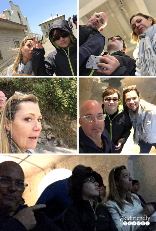 silly selfie collage at Alcatraz Island